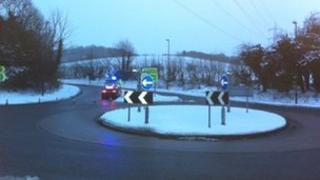 Road closed at Severn Springs near Cheltenham