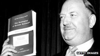 Dr Richard Beeching with his report into Britain's railways