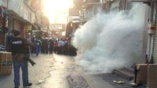 Tear gas cloud on Manama street (25/01/13)