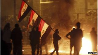 Protesters near Tahrir Square in Cairo, 25 January 2013