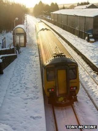 Train in the snow in Adlington