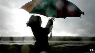 person with umbrella