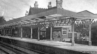 Swanage station in 1937 during the construction of its canopy