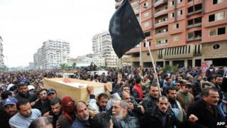 Mourners at funeral procession for Port Said victim - 28 January