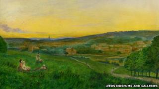 View of Leeds from Woodhouse Ridge by Grimshaw (details0