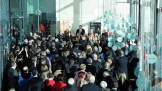 Liam Neeson addresses the ceremony