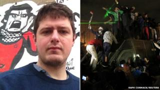 Raph Cormack and protesters in Cairo