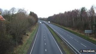 A19 northbound from the bridge near Knayton