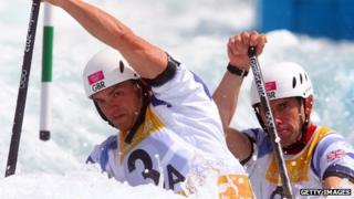 Canoeists Tim Baillie and Etienne Stott compete during London 2012