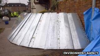 Flood defences at Beales Corner in Bewdley