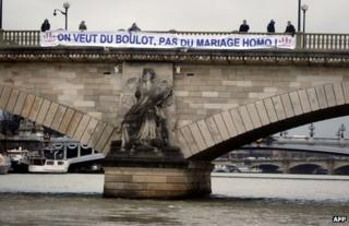 An anti-gay marriage banner on a bridge in Paris, 29 January