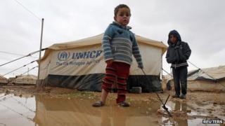 Syrian refugee children at the Zaatari camp in Jordan (8 January 2013)