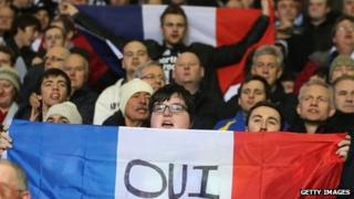 Newcastle United fans welcome their French players to the club