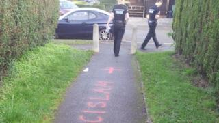Graffiti on path
