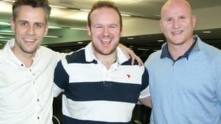 Richard Bacon, Ben Pilling and John Hartson
