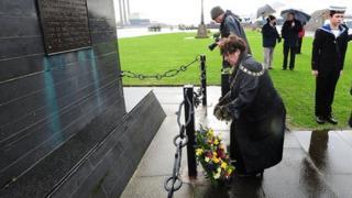 Mayor of Larne, Councillor Gerardine Mulvenna, lays a wreath