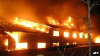 The fire at Rotfelden farm, Germany, early on 31 January