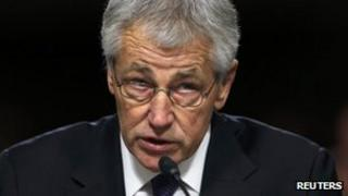 US Senator Chuck Hagel testifies during a Senate Armed Services Committee in Washington, 31 January 2013