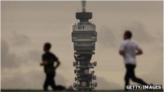 Joggers pass BT tower