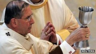Cardinal Roger Mahony celebrates Mass in Los Angeles, file pic from 2010