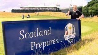 'Scotland prepares' sign is put up at Gleneagles