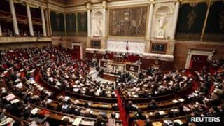 French National Assembly debating the bill in Paris on 29 January.