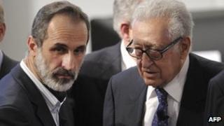 Moaz al-Khatib meets Lakhdar Brahimi in Munich (1 February 2013)