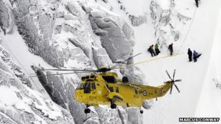 RAF rescue helicopter during operation