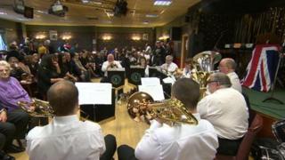The ceremony inside Golcar Royal British Legion