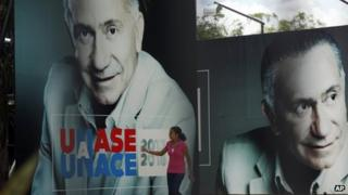 Campaign posters bear the picture of Lino Oviedo