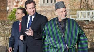 Prime Minister David Cameron (centre) with President Hamid Karzai (right) and President Asif Ali Zardari of Pakistan (left)