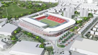 Aerial view of what the stadium would look like
