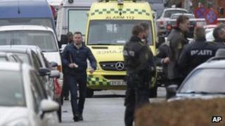 Danish police attend the shooting in Copenhagen, 5 February