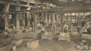 Inside the foundry at the Lister Petter site, Dursley, in the 1920s