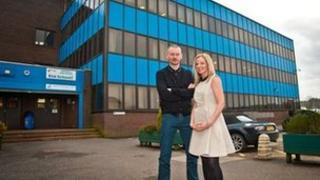 John Gordon Sinclair and Clare Grogan outside Abronhill High