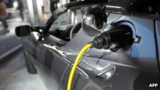 Electric plug in a Tesla Roadster