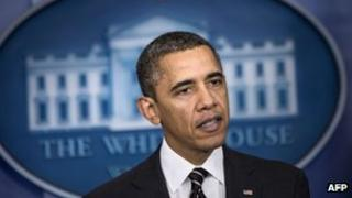 US President Barack Obama speaks in the briefing room of the White House 5 February 2013
