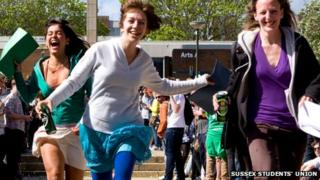 Students participate in a previous Dissertation Dash at the University of Sussex