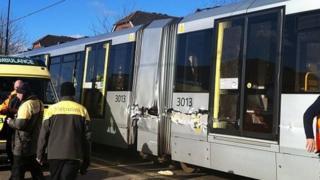 Damaged tram in Salford