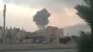 Video clip purportedly showing smoke rising from Palmyra (Tadmor) in central Syria (6 February 2013)