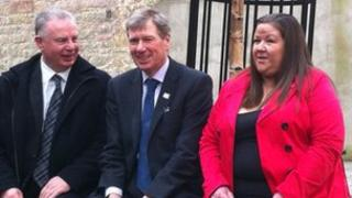 Kenny MacAskill (centre) met victims of crime, Harry Lindsay and Audrey McGuire