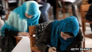 Afghan female students at Kabul university - archive picture