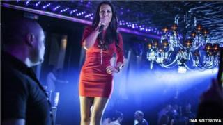 Singer Djena, performing in the Bilioner Club, Sofia