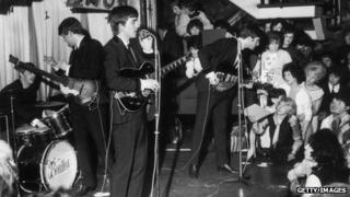 The Beatles, playing the Majestic Theatre in Birkenhead, Merseyside, April 1963