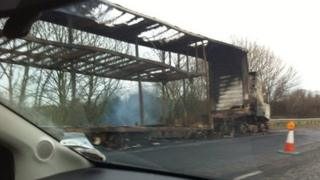 Burned out lorry