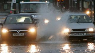Two cars in flood water, Great Yarmouth 2007