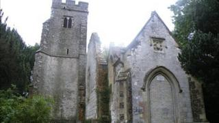 The remains of St Mary's Church in Eastwell