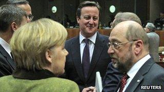 David Cameron with Angela Merkel and European Parliament president Martin Schulz