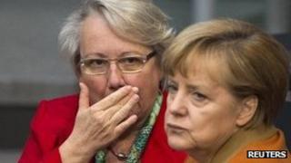 Annette Schavan with Angela Merkel, 2012