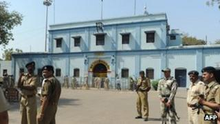 File photo of security men standing outside the court inside Sabarmati Central Jail